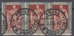 ITALIA - 1928 - Tre Francobolli Usati Yvert 215 Uniti Fra Loro. - 1900-44 Vittorio Emanuele III