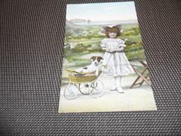 Chien ( 65 )    Hond    Fillette  Charette - Chiens