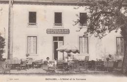 CPA:BONLIEU (39) PETITE FILLE  BAIGNEUR EN TERRASSE HÔTEL DU LAC ET DE L'ABBAYE...ÉCRITE - France