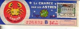France - 425 - La Chance Par Les Astres Cancer - 34 ème Tranche 1954 - Loterijbiljetten
