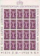 Liechtenstein 1959  Trauermarke Papst Pius XII 1v Sheetlet ** Mnh (F7677) - Liechtenstein