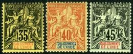 French India. Sc #13-15. Unused. * - India (1892-1954)