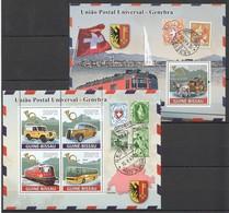 I566 2008 GUINE-BISSAU POSTAL TRANSPORTATION GENEBRA CARS TRAINS 1KB+1BL MNH - Trains