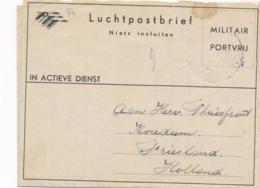 Nederlands Indië - 1949 - Militair Luchtpostblad G9 Van Veldpost Soerabaja Naar Koudum / Nederland - Indes Néerlandaises