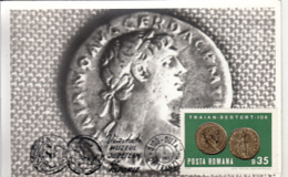 76333- ROMAN SESTERTIUS, EMPEROR TRAJAN, ANCIENT COINS, ARCHAEOLOGY, MAXIMUM CARD, 1982, ROMANIA - Archeologia