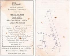 OPERA BALLET - Pamphlet Tenor DANTE RANIERI With Autograph Hand Signed Dedicacee 1983 ENCOTEL Argentina AD - Autographes
