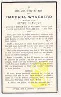 DP Barbara Wyngaerd ° Pittem 1882 † Beselare Zonnebeke 1939 X Henri Blancke - Images Religieuses