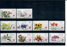 Aa 989 A 998 Croix Rouge 150eme Anniversaire - Fleurs - Adhésifs (autocollants)