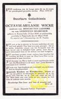 DP Octavie M. Wicke ° Kemmel Heuvelland 1846 † Poperinge 1928 X B. Lazoore Xx L. Delbecque - Images Religieuses
