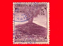 COLOMBIA - Usato - 1954 - Vulcano Galeras, Pasto - 5 - Scott AP40 - P.aerea - Colombia