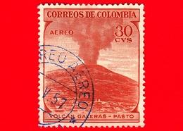 COLOMBIA - Usato -  1954 - Vulcano Galeras, Pasto - 30 - Scott AP40 - P.aerea - Colombia