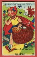 CPA 22 LOUDEAC Rare CARTE à SYSTEME Complete Dépliant 10 Vues Le Loup Et Petit Chaperon Rouge écrite - éditions GABY - Loudéac