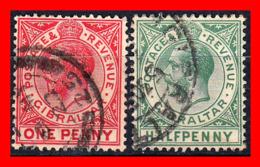 GIBRALTAR 2 SELLOS AÑO 1903 - 12 HALF -Y- ONE PENNY KING EDWARD VII - Gibraltar