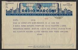 Portugal Télégramme Radio Marconi Paquebot Serpa Pinto Madère Madeira Lisbonne Lisbon Telegram - Telegraph