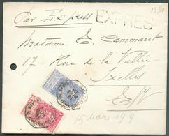 10 Et 25 Centimes Fines Barbes Obl. Télégraphique BRUXELLES (PORTE De NAMUR) Sur Lettre EXPRES Du 15 Mars 1904 Vers Ixel - 1893-1800 Fijne Baard