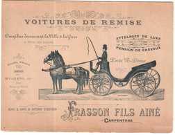 CARTON PUBLICITAIRE TRES ANCIEN FRASSON CARPENTRAS.VOITURE DE REMISE - Publicités