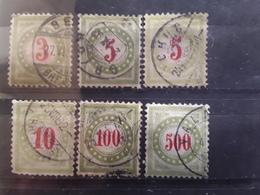 SUISSE / SCHWEIZ TAXE 1884  Chiffres CARMIN , 6 Timbres , Yvert No 21, 22 X2, 23, 26, 27, Obl Cote Mini 40 Euros - Portomarken
