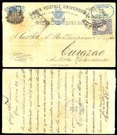 PERU. 1892. Lima - Curaçao. Stat Card + Adtl. Scarce Destination Mail Arrival Cds On Front. Via Bl. Panama Cds. - Peru