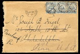 BC - Turks & Caicos. 1901. Turks - USA. Env Frkd 2 1/2d X3. - Unclassified