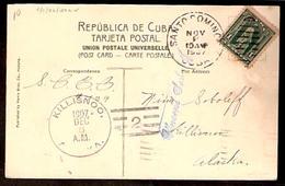 CUBA. 1907. Stº Somingo - ALASKA / USA. PPC. Fkd PM / Arrival Killisnoo Cds. Scarce Dest! - Cuba