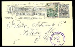 NICARAGUA. 1916. Chihuahua - USA. Ovptd (Cordoba) Stat Card + Adtl. - Nicaragua