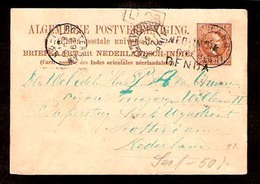 DUTCH INDIES. 1891. Soebon - Netherland. 7 1/2c. Stat Card. Via Genoa. - Indes Néerlandaises
