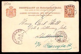DUTCH INDIES. 1890. Serakarta - Germany. 7 1/2c Stat Card / Pmks. - Indes Néerlandaises