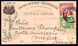PERU. 1901. Lima - Mexico. 3c Stat Card + Adtl. Fine + Scarce Dest. Via Panama Cds. - Peru