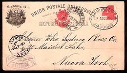 PERU. 1896. Ayacucho - USA. 4c Stat Card. VF. Town Usage. - Peru