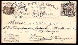 PERU. 1901. Lima - Hungary. 4c Stat Card. Via Panama - NY. VF. - Peru