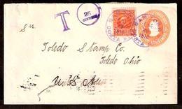 COSTA RICA. 1918. S. Jose - USA. 5c Stat Env + Adtl + Taxed. VF Appealing. - Costa Rica