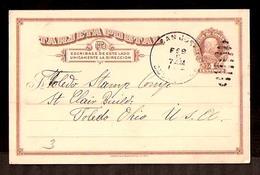 COSTA RICA. 1914. S. Jose - USA. 4c Stat Card. Fine. - Costa Rica