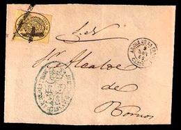 """E-ISABEL II. 1862. 35º. CADIZ / Arcos (TII) - Bornos. Matasellado Con La Multa """"4"""" (xxx) Marca De Origen. Rarisima Y Pre - Unclassified"""