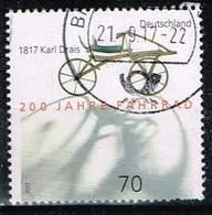 Bund 2017, Michel# 3320 O 200 Jahre Fahrrad - 1817 Karl Drais - BRD