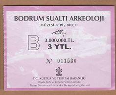 AC - BODRUM MUSEUM OF UNDERWATER ARCHAELOGY ENTRANCE TICKET TURKEY - Tickets D'entrée