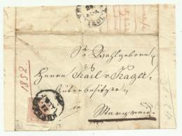 FRANCOBOLLO 3 KREUZER 1852  SU  FRONTESPIZIO - 1850-1918 Imperium