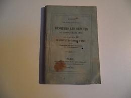 LISTE Des DEPUTES , DU SÉNAT ET CONSEIL D'ETAT, Avril 1852 - Historical Documents