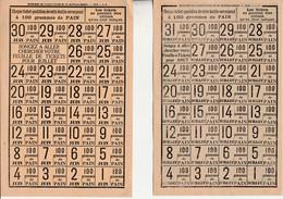 4 Planches Différentes Entières / Tickets Rationnement Pain / 1918 Et 1919 - 1914-18