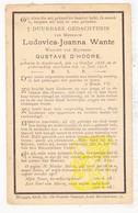 DP Ludovica J. Wante ° Assebroek Brugge 1836 † 1913 X Gustave D'Hoore - Images Religieuses