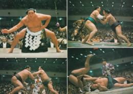Sumo Wrestling, Japan National Sport, Multi-view, Wrestlers, C1980s Vintage Postcard - Wrestling