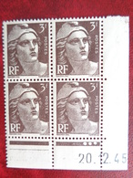 1939-40 CERES N° 715 ** BLOC DE 4 COIN DATES - Dated Corners