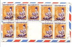 UNION OF MYANMAR AFFRANCHISSEMENT COMPOSE SUR LETTRE POUR LA GRANDE BRETAGNE - Timbres