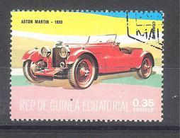 Guinea Ecuatorial 1977-Coches Antiguos Aston Martin-1 Sello Usado - Guinea Ecuatorial