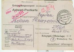 POSTKARTE-Litzmannstadt-LODZ-Offizierslager II C -1944-DATUM 08.08.1944 - SEHR WICHTIG,RR - Polonia