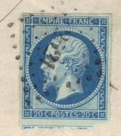 Napoléon N°14Ba Bleu/vert (tirage De 1861), LSC De Pont-St-Maxence (58), 1861. - 1853-1860 Napoleon III