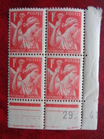 1939-40 CERES N° 433 ** TYPES IRIS BLOC DE 4 COIN DATES - Dated Corners
