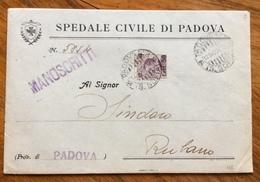 MICHETTI 50/55 ( Sovrastampa Spostata) BUSTA OSPEDALE CIVILE DI PADOVA PER RUBANO IN DATA 12/12/28 - 1900-44 Victor Emmanuel III