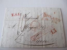 LETTRE  MARQUE POSTALE   MILAN /LYON    1843 - 1801-1848: Precursors XIX