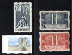 Vimy, Monument Canadien. N° Yvert 316/17 * + Timbre Du Canada De 1968 Neuf Sans Gomme + Tb 2017 Autoadhésif. - WW1