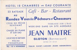 D1099 CARTE PUBLICITAIRE - HÔTEL / CAFE / BAR / RESTAURANT - JEAN MAITRE - GLOTON / BENNECOURT - SEINE ET OISE - Etiquettes D'hotels